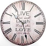 Tinas Collection Orologio da parete Live Laugh Love, Orologio da cucina silenzioso con 30 cm diametro