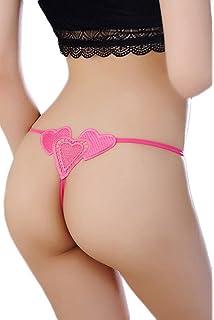 Bigood Lingerie de Nuit G-string Femme Dentelle Culotte Sous-vêtement Cœur 282217aaf84