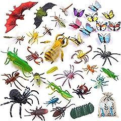 Idea Regalo - LATERN 45 Pezzi Corredi di Figure Dell'insetto di Plastica, 35pcs Realistici Insetti Bug Insetto Figure Giocattolo per L'educazione dei Bambini, Favori di Tema A Tema Insetti