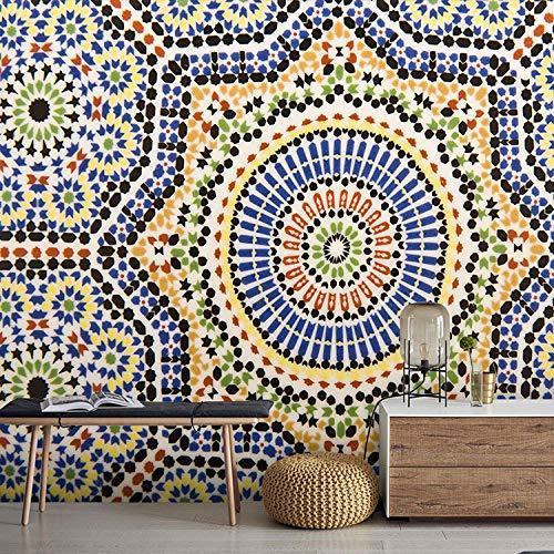 Europäische wallpaper_Moroccan nationalen Wind Wallpaper 3D Farbe Fliesenmuster Restaurant Bar Thema HotelWallpaper 3D Fototapete Paste Grenze Wandbild Tapete Fototapete Wandbilder-300cm×210cm