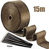 ilauke 15M*5CM Exhaust Wrap Roll Titanium for Motorcycle Heat Shield Tape + 15Pcs Stainless Ties