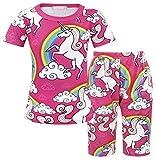 AmzBarley Ragazze PJS Pigiama Unicorno con pigiameria a maniche lunghe per bambini piccoli 2-12 anni (9-10 anni, corto rosa)