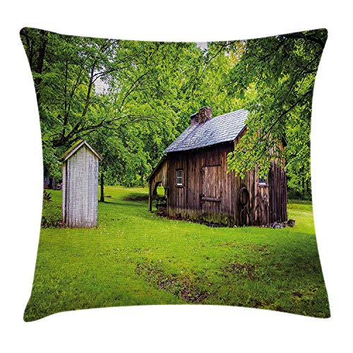 VVIANS Outhouse Throw Pillow Cushion Cover, Spring Time Forest Leaves with Outhouse Little Cottage Art Photo, Decorative Square Accent Pillow Case, 18 X 18 inches, Fern Green and Dark Brown - Cottage Standard-quilt