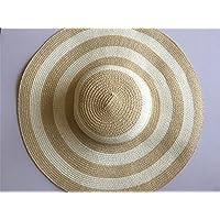 OSISDFWA sombrero de paja sombrero verano y otoño Mar Outdoor sol protección Visor rayas Doblar las arrugas, caqui