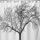 Anself Cortina de ducha para baño impermeable de patrón de árbol + 12 anillos ganchos,180*180cm,color blanco y negro