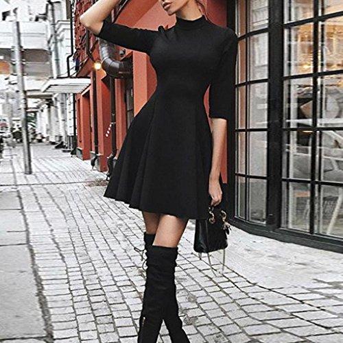 BYSTE Donna Vestito Tinta unita Girocollo vestito Festa Casuale Vestito a mezza manica abito Nero
