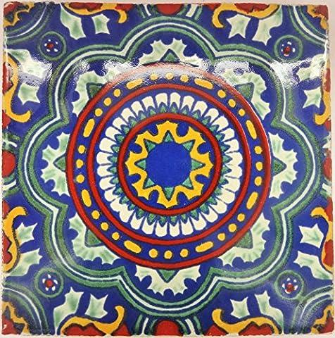 Carrelage en céramique mexicaine - 10,5 cm - fait à la main et éthiquement négocié par Tumia LAC - Tuile unique