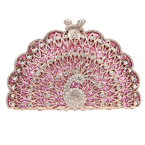 Bonjanvye Metallic Gorgeous Peacock Purse Animal Shape Evening Clutch Bag Gray pink