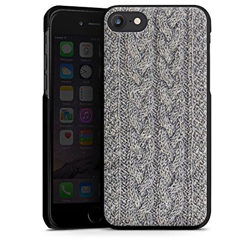 Apple iPhone X Silikon Hülle Case Schutzhülle Wolle Look Stricken Muster Hard Case schwarz