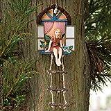 Bits und teilig–Fairy Haus mit Leiter Zum Aufhängen Baum Skulptur–Outdoor Baum Statue–Skurril Handbemalt Polyresin Garden Decoration