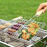 Shoppy Star Ootdty Metallo griglia per Barbecue, 19cmx21cm con Manico in Legno per Pesce gamberetti Verdure Frutta Carne Campeggio