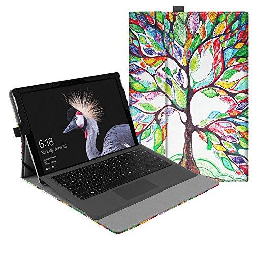 Fintie Hülle für Microsoft Surface Pro 6 (2018) / Pro 5 (2017) / Pro 4 / Pro 3 - Multi-Sichtwinkel Hochwertige Tasche Schutzhülle aus Kunstleder, Type Cover kompatibel, Liebesbaum