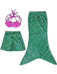 Las niñas se puede nadar Colas de la sirena Disfraz Mar-criada cabestro arriba del bikini del traje de baño del vestido del traje de baño Calzoncillos hasta 2-10 años(Verde,130(6-7años))