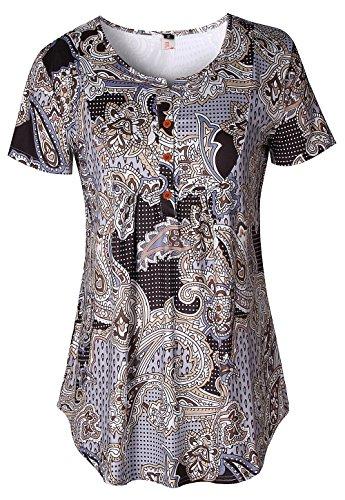 ELFIN Damen Kurzarm Bluse Tunika V-Ausschnitt Extra Leicht Asymmetrisch Langes Top Shirts (Tunika Bluse V-neck)