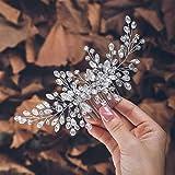 Zoestar Pettine per capelli da sposa con cristalli argentati, accessorio per capelli per donne e ragazze