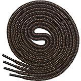Miscly – Schnürsenkel Rund, Extrem Reißfest [3 Paar] für Arbeitsschuhe, Stiefel und Wanderstiefel - Nylon und Polyester - Ø 5 mm (160 cm, Schwarz/Braun)