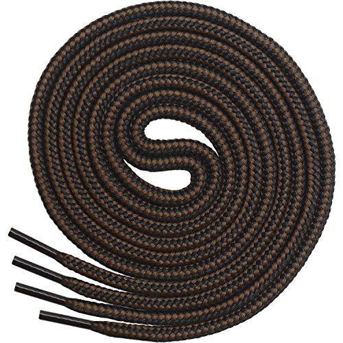 el Rund, Extrem Reißfest [3 Paar] für Arbeitsschuhe, Stiefel und Wanderstiefel - Nylon und Polyester - Ø 5 mm (137 cm, Schwarz/Braun) ()