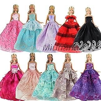Miunana 6 Robes de Soirée Aléatoire Elégantes Mode Princesse Pour Poupée Barbie