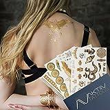 AKTIIV KLEBE-TATTOOS | Yogini Set 4 x DIN-A5 Bogen temporäre Tattoos in metallic Gold, Silber, Schwarz & Türkis zum Au