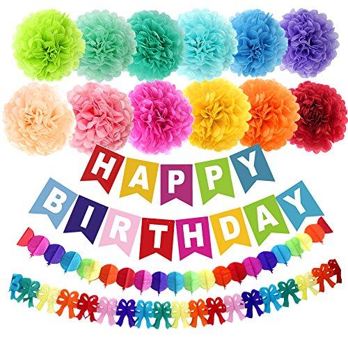 APLANET 15 Stück 10 Inch Papier Pompons (12 Farben), Geburtstagsparty bunter Wimpel Banner, Regenbogen Papier Girlande - Geburtstagsparty Zubehör
