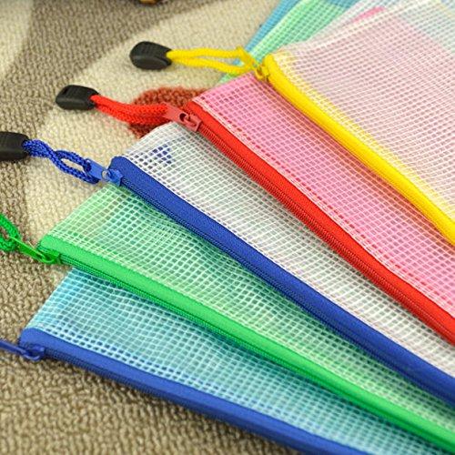 Dokumententasche mit Reißverschluss, A4, Kunststoff, Gitterdesign, 5 Stück (Taschen Ziploc Große)