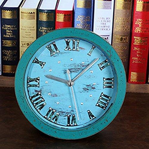Usany 12,7cm Wecker Rund 3D Time Teacher Piepton-Alarm Uhr Vintage Holz Muster Silent Nicht Quarz Schreibtisch Uhr-Römischen Ziffern