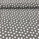 Erstklassiger Baumwollstoff 0,5lfm, 100% Baumwolle, modische Muster, Breite 160cm – Herzen grauer Hintergrund