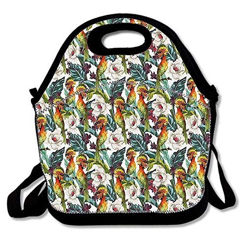 58a4f3cb2db Tropical Birds of Paradise and Exotic Flowers Hibiscus Orchid Summertime  Retro Art Reusable Neoprene Lunch Bag