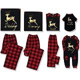 SOONHUA - Conjunto de pijama familiar a juego, ropa clásica de Navidad, a cuadros con diseño de alce dorado, suave, a juego p
