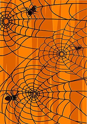 1x A4bedruckt Halloween Spider Web Tapete Decor Zuckerguss Essbar Cake Topper verziert Tabelle-Perfekt für große Kuchen zu schaffen eine Halloween Szene (Halloween Wallpaper Orange)