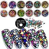 Galaxy beauty confetti nail art glitter olografico rotondo lucido paillettes manicure accessori nail decorazione 3D 12box
