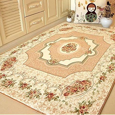 Estilo europeo MeMoreCool rosas alfombra sala de estar área Rugs sofá lado alfombra bebé gatear Mat alfombra (grande para el hogar salón/dormitorio/piso/cocina + envío gratis, tela, beige, 200cm by 240cm