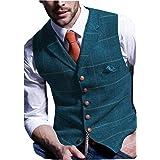 Solove-Suit Gilet da Uomo in Gilet Scozzese Tweed Slim Fit per Groomsmen da Sposa