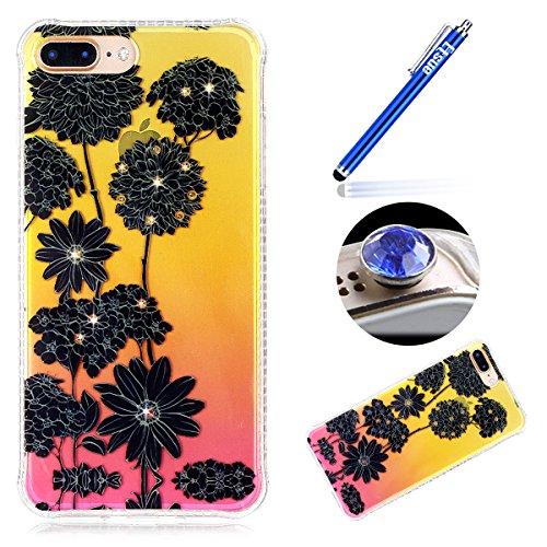 iPhone 7 Plus Custodia Diamante Bling,iPhone 7 Plus Cover in Silicone,Etsue 2017 Neo Disegni Donna Ragazza Cristallo Bling Scintillante Diamante Bella Elegante Romantico Fiori di Ciliegio Modello Tras Nero Fiori