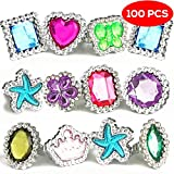 100 Pieces - Colourful Plastic Rhinestone Gem Rings Sets - 10 Assorted Shapes & Designs Kids jewellery - Childrens Toys for Christmas Party bags, Dress Up Parties Princess Ring, Accessories for Girls