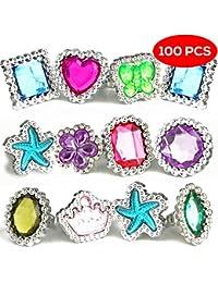 The Twiddlers 100 Anillos de Piedras Preciosas de plástico de Colores – 10 Formas Surtidas y Diseños – Ideal para Regalos de Fiesta, Fiestas de Disfraces