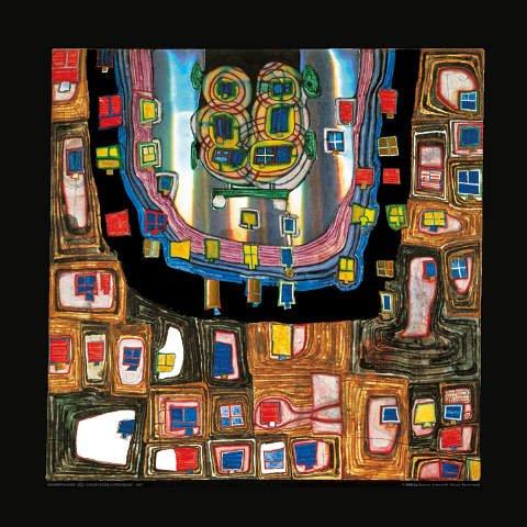 """Kunstdruck / Poster: Friedensreich Hundertwasser """"Geburt eines Automobils"""" - hochwertiger Druck, Bild, Kunstposter, 48x48 cm"""
