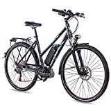 Leader 28 Zoll E-BIKE Trekkingrad City Bike Damenrad MOTION mit 9G DEORE SLX & SHIMANO STEPS grau matt