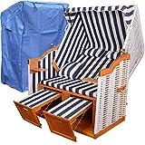 XINRO® XL Strandkorb Weiss Blau für Balkon + WINTERFESTER Strandkorb Schutzhülle - weißes Polyrattan Ostsee Strandkorb Sylt