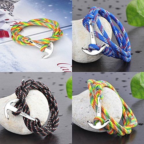 """Infinite U Bracelet tressé multi-rangs multicolore """"Hope"""" l'ancre de navire en Alliage et Nylon corde de coton rouge vert bleu noir et coloré pour femme homme"""
