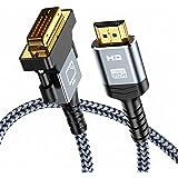 Cable HDMI a DVI 1.8m, Snowkids Bidireccional Cable HDMI DVI Macho, Cable Adaptador de Alta Velocidad Trenza de Nylon HDMI a
