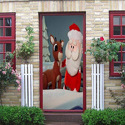 Aufkleber Weihnachtsmann-Puppe 95X215CM Wandaufkleber europäischen Stil PVC Dekoration zuhause wandbild Aufkleber selbstklebend tapete Geschenk dreidimensional Landschaft ()