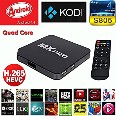 Quad Core Android TV Box MX MXpro Android 4.4 TV Box - Free Movies & TV with NEW FULLY LOADED KODI (FORMALLY XBMC) 100+ ADDONS (XBMC) AirPlay Mini Web Streaming HTPC Player, Quad Core 1GB Ram, 8GB Internal Memory, WiFi, 1080P