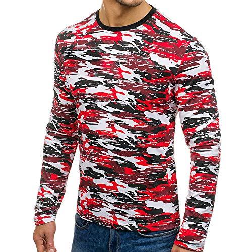 MIRRAY Herren Herbst Casual Rundhals Camouflage Langarm Sweatshirt Tops Bluse