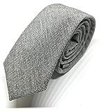 GOOD.designs Herrenkrawatte slim fit, handgenäht aus Baumwolle in verschiedenen Farben - schmale 6cm Baumwollkrawatte für Männer (Grau Uni)