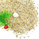 TELLW Sand für Aquarien, mit Sand-Glas-Perlen, dekorativ, Stein-Optik, für Aquarien, Pflastersteine, Gelb 1, 1-2mm,500g