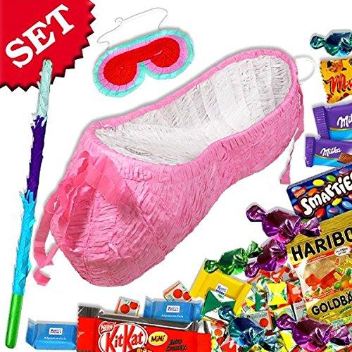 Preisvergleich Produktbild Tanzschuh Pinata +Süßigkeiten, Keule & Maske im Set für Prinzessin Geburtstag