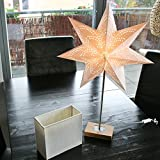 Edler Weihnachtsstern Papierstern Papierleuchte mit Holz-Ständer und 2 verschiedenen Aufsätzen