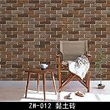 SD Wall stickers Eco minimalista contemporaneo cinese emulazione retrò Texture di mattoni autoadesivo impermeabile,Zw-012 in mattoni di argilla 60cm*3M, grandi