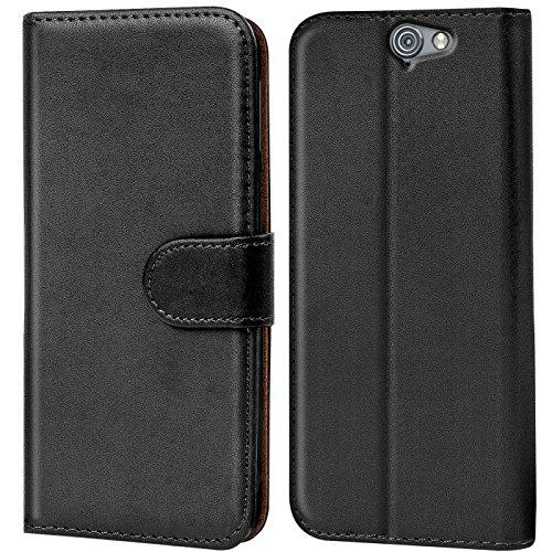 Verco One A9 Hülle, Handyhülle für HTC One A9 Tasche PU Leder Flip Case Brieftasche - Schwarz
